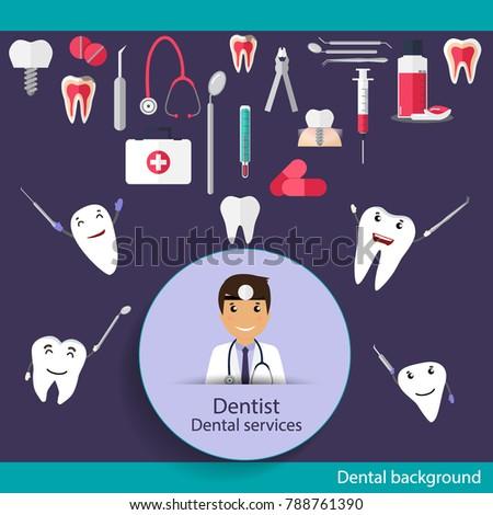 Medical dental background design. Dentist with teeth. Vector illustration Foto stock ©
