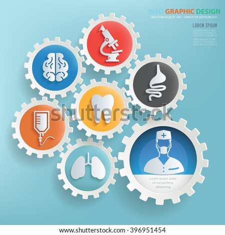 Medical design,gear info graphic on clean background,vector