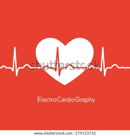 Medical design white heart with cardiogram on red background