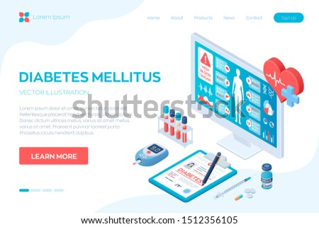 Medical diagnosis - Diabetes. Diabetes mellitus type 2 and insulin production. Blood glucose meter, pills, syringe and insulin vial. Medical full body screening software on screen. Vector illustration