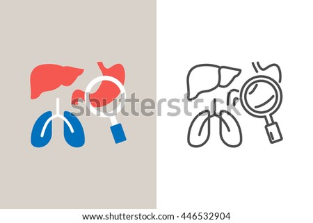 Medical diagnosis icon, flat and line style