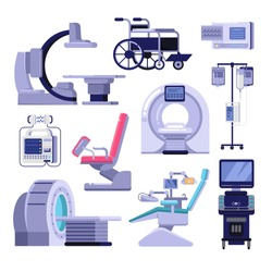 Medical diagnostic and examination equipment. Vector illustration of MRI scanner, gynecology and dentist chair, wheelchair, blood transfusion, cardiograph, ultrasound, radiology x-ray machine.
