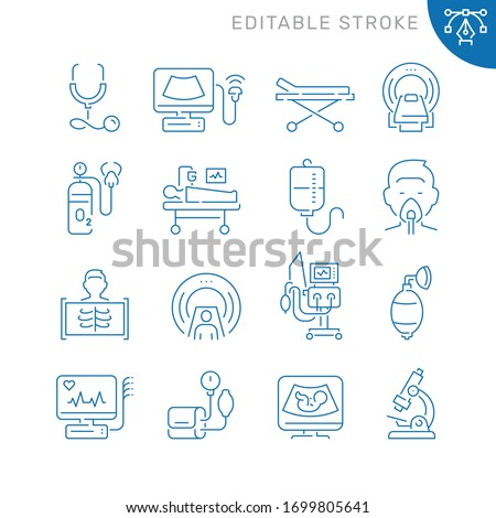Medical diagnostic equipment related icons. Editable stroke. Thin vector icon set