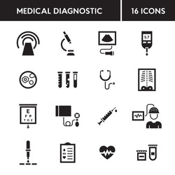 Medical diagnostic vector icon set. Medicine test signs in flat style. Clinical health care research and check-up. Hospital pictogram symbols of xray, MRI, scan, blood and glucose testing, vaccination