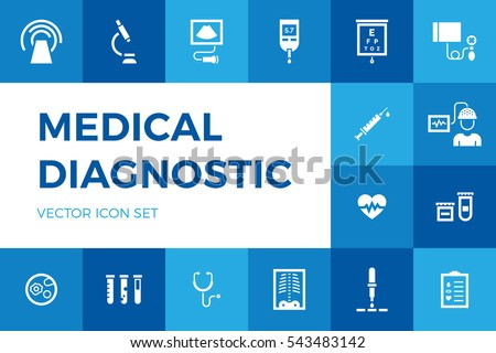 Medical diagnostic vector icon set. Medicine test signs in flat style. Hospital pictogram symbols of xray, MRI, scan, blood and glucose testing, vaccination.Clinical health care research and check-up