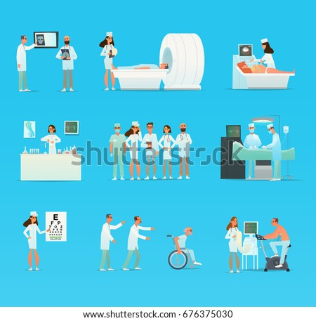 Medical doctor and nurse patients treatments and examination. different diagnostic procedures. office clinic. Vector illustration