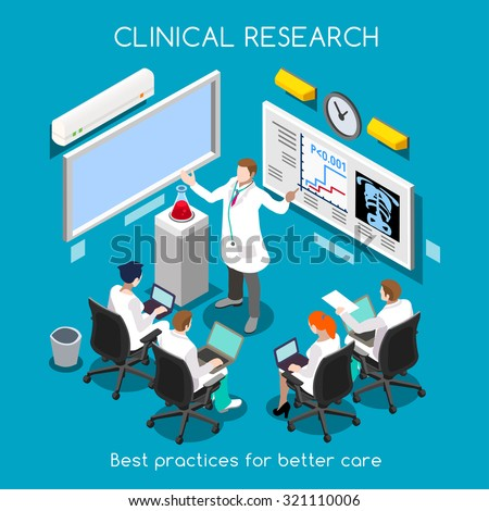Medical Doctor Conference translational Clinic Research Train. Hospital workshop Staff Researcher Clinical Trial Study. Medicine Train Health care Meeting 3D Flat Isometric People Vector Infographic