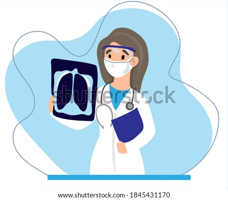 Medical doctor looking at x-ray picture of lungs in hospital. Covid-19 consept. Pneumonia test, radiography, coronavirus Stock photo ©
