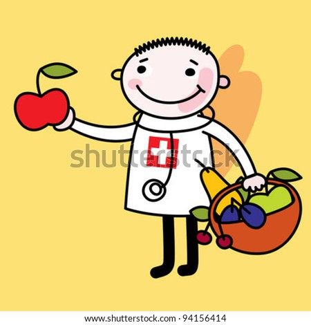 medical doctor with fruit