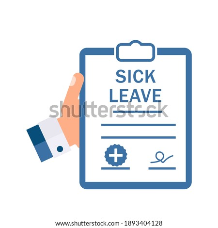 Medical document. Sick leave. Vector illustration isolated on white background. Stock photo ©