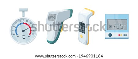 Medical domestic meteorology thermometer. Mercury and electronic thermometer for temperature measurement. Temperature scale for measurement. Healthcare and medical equipment, device flat vector. Foto stock ©