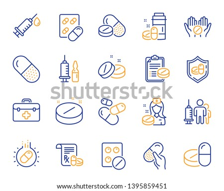 Medical drugs line icons. Healthcare, Prescription and Pill signs. Pharmacy drugs, medical nurse, recipe pill icons. Antibiotic capsule, syringe vaccination, medicine cure. Vector