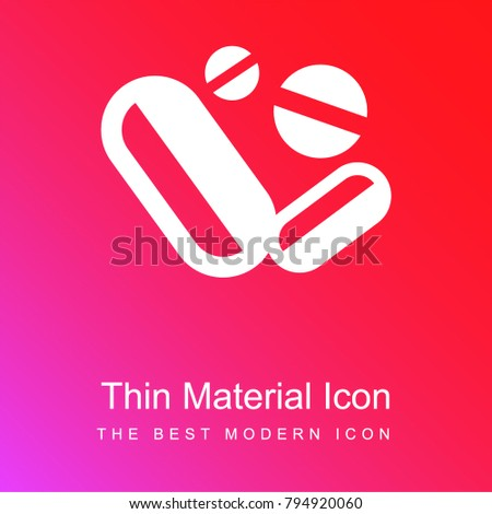 Medical drugs pills and capsules red and pink gradient material white icon minimal design