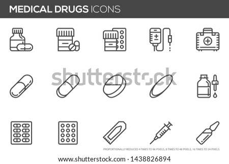 Medical drugs vector line icons. Pill, lozenge, syringe for injection, rectal suppository, pill blister. Editable Stroke. Perfect pixel icons, such can be scaled to 24, 48, 96 pixels.