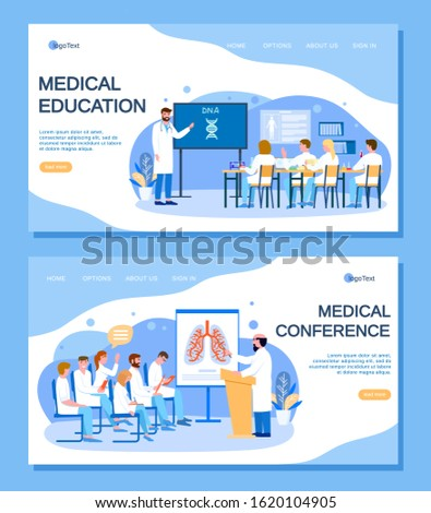 Medical education and conference with doctors people vector illustration. Man teaches students. Group of physicians listens to report of professor. Internet web site, landing page template.