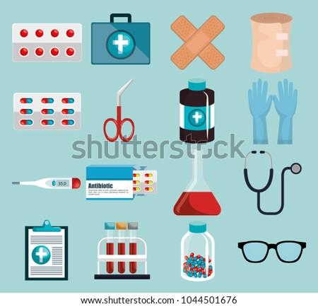 medical elements set icons