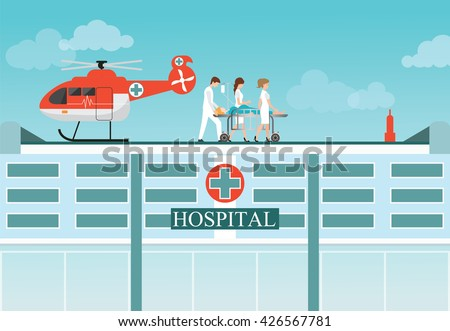 Medical emergency chopper helicopter with carry patient bed at the hospital building,ambulance helicopter vector illustration.