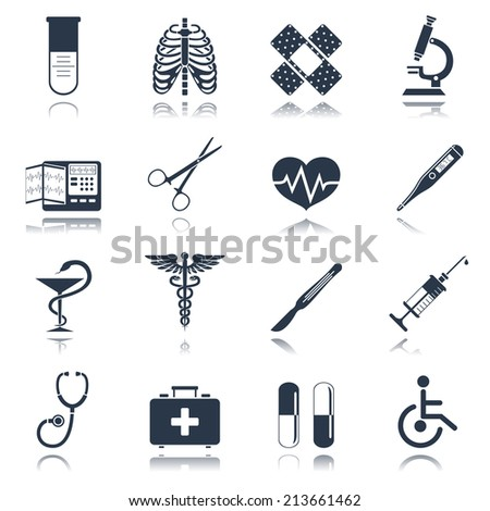 Medical emergency first aid care black icons set with heart pill thermometer isolated vector illustration