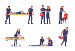 Medical emergency paramedic rescue team first aid at work. Professional medic specialist staff in uniform help people with injury, provide treatment vector illustration isolated on white background