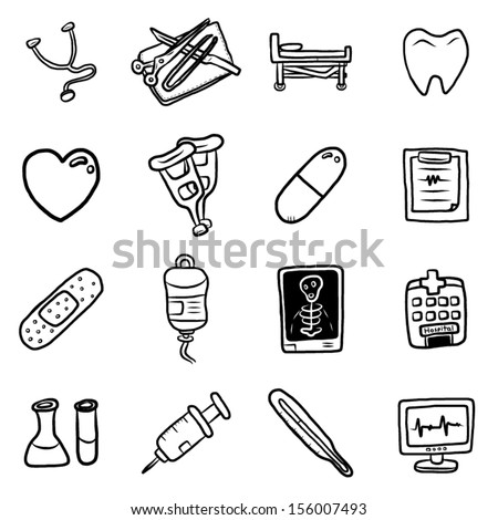 Medical Equipment And Medicine Objects Or Icons Set
