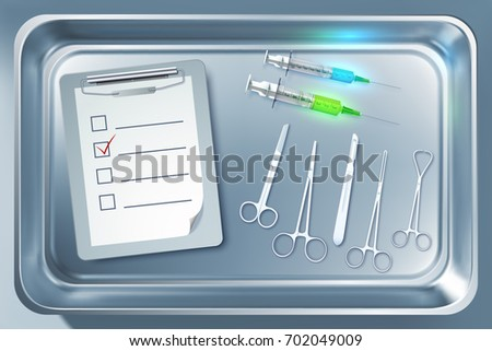 Medical equipment concept with syringes forceps scalpel scissors clipboard in metal sterilizer isolated vector illustration
