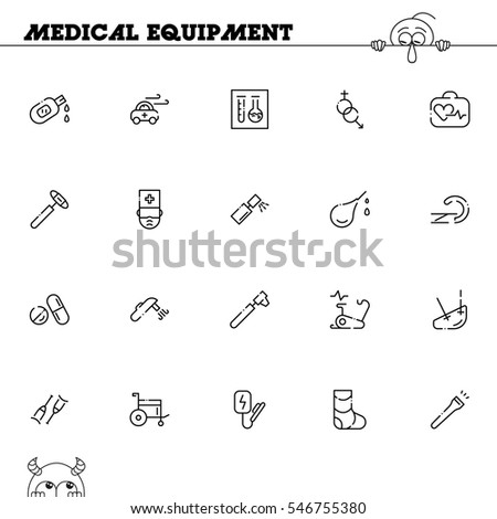 medical equipment flat icon set