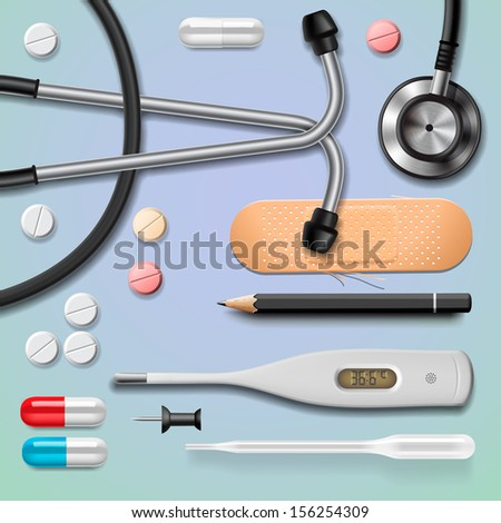 Medical equipment, isolated, vector illustration.
