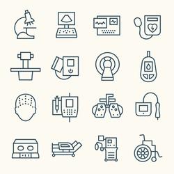 Medical equipment line icon set