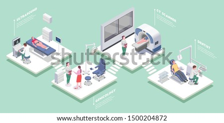 Medical equipment set of isometric platforms with medical apparatus people and editable text captions with shadows vector illustration