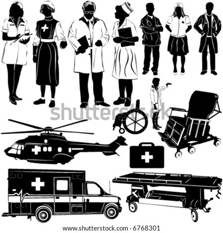 medical equipments and people vector 2