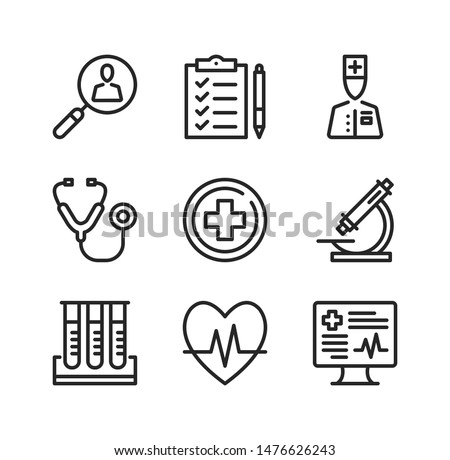 Medical exam line icons. Health checkup, medical examination, check up, screening concepts. Simple outline symbols, modern linear graphic elements collection. Vector line icons set