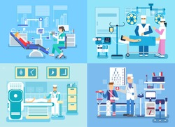 Medical examination doctor set banners concept. Health clinic visit to the doctor background
