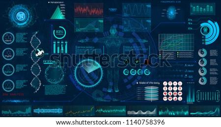 Medical examination HUD elements set. Display virtual interface (dna formula, ecg monitor, body scan, medical infographic, icons set, statistic and diagrams) Modern research of human health, vector