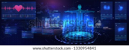 Medical examination in style HUD GUI. Medical Health Care Human Virtual Body Hi Tech Diagnostic Panel. Modern medical science in future and global international medical with tests analysis clone DNA