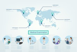 Medical examination infographic with doctors and patients  flat design vector illustration