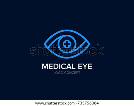 Medical Eye Logo. Ophthalmology clinic logo design. Oculist logotype. Line Symbol for Medical Center of Vision Correction. Eye with Medical Cross. Creative Vector element