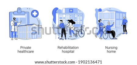 Medical facility abstract concept vector illustration set. Private healthcare, rehabilitation hospital, nursing home, medical condition, residential home, physical therapy abstract metaphor. Foto stock ©