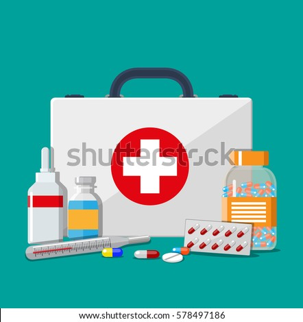 Medical first aid kit with different pills and thermometer, healthcare. Vector illustration in flat style