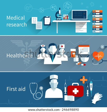 Medical flat banners set with research healthcare first aid symbols isolated vector illustration