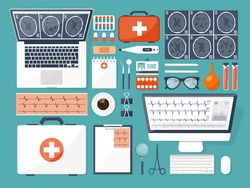 Medical flat vector background,health care,first aid.International health protection,insurance.Medicine and surgery.Vaccination,medical research program.Online health check,medical diagnosis,treatment