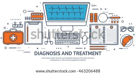 Medical flat vector background,health care,first aid.International health protection,insurance.Medicine and surgery.Vaccination,medical research program.Online health check,medical diagnosis.Line art