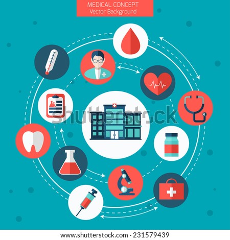 Medical Flat Vector Concept with Hospital. Health and Medical Care Illustration.