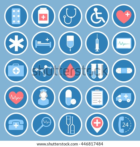 Medical flat vector icons for your website, business cards, brochures in the form of a circle.