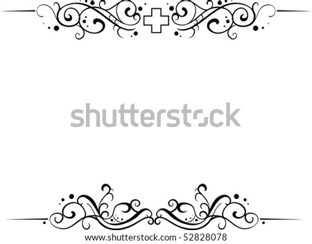medical floral and curly frame for top and bottom of document isolated on white background with place for your text (AI8 with gradient) - stock vector