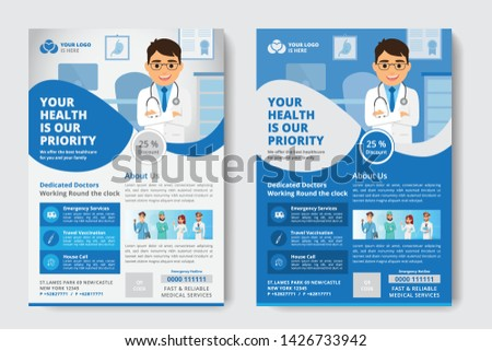 Medical Flyer poster pamphlet brochure cover design layout background, two colors scheme, vector template in A4 size - Vector - Vector