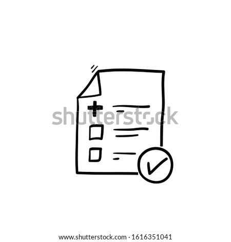 Medical form list with results data and approved check mark vector icon, doodle clinical checklist document with checkbox symbol, insurance or medicine service sign, prescription record vector