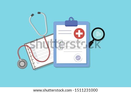 Medical form list with results data and approved check mark vector illustration, flat cartoon clinical checklist document with checkbox, insurance or medicine service concept, prescription record