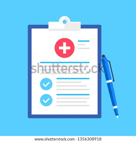 Medical form, medical report. Clipboard with cross, pen and checkmarks. Informed consent, prescription, claim form, health insurance, clinical record concepts. Modern flat design. Vector illustration