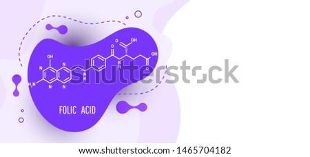 Medical formulas concept. Color abstract liquid form liquid gradient colorful dynamic design element with folic acid structural formula
