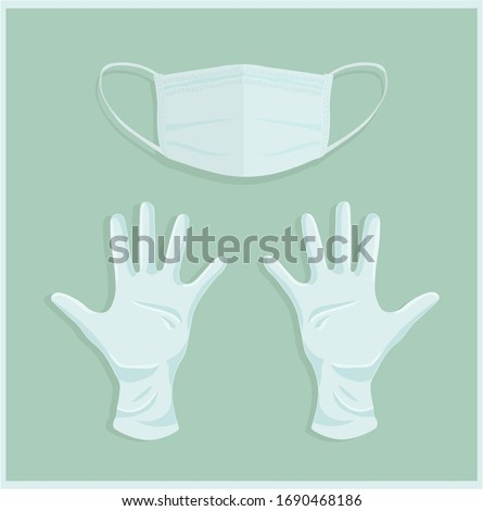 Medical gloves and mask with flat background